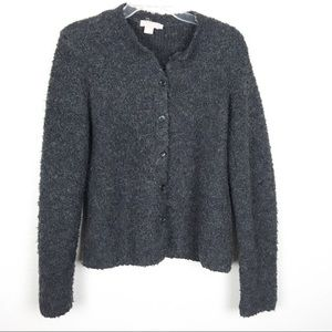J Crew Gray Fuzzy Button Front Sweater Cardigan